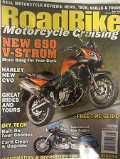 Road Bike Magazine May 2012 New 650 V-Strom Harley New CVO  Bolt-on Tour Goodies
