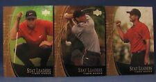 TIGER WOODS 2001 UPPER DECK STAT LEADERS THREE CARD LOT SL2, SL7, SL17