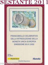 TESSERA FILATELICA FRANCOBOLLO MONETA UNICA EUROPEA AMPHILEX 2002 D93