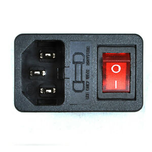 AC Inlet Power Socket 3 Pole With Fuse Holder Switch Red Neon Indicator Light