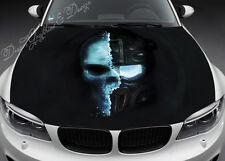 Skull Full Color Graphics Adhesive Vinyl Sticker Fit any Car Hood Bonnet #052