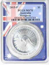 Australia 2015-P S$1 Silver Kangaroo PCGS MS-70 (Flag Frame Holder)