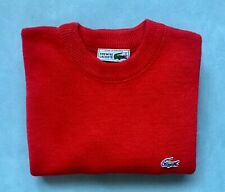 LACOSTE VTG Mens Red Wool Blend Crewneck Pullover Sz 2 (S) EUC