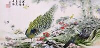 100% ORIENTAL ASIAN FINE ART CHINESE WATERCOLOR PAINTING-Peacock birds&flowers