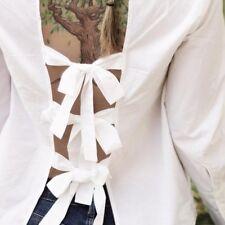 Zara White Open Back Tie Shirt Size MEDIUM & LARGE BNWT