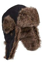 Mountain Warehouse Mens Winter Hat in Black with Faux Fur Lining in One Size