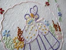More details for vintage tablecloth hand embroidered crinoline ladies - linen