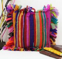 """INDIAN COTTON HANDMADE VINTAGE 16X16"""" INCHES RUG RAG PILLOW CHINDI CUSHION COVER"""