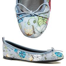 39.5 NEW $475 GUCCI Blue CHRIS KNIGHT Flora Canvas Classic BALLET FLATS Floral