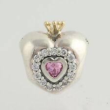 NEW Pandora Princess Heart Charm - Sterling Silver & 14k Gold 791375PCZ