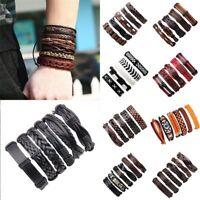 6pcs Men Punk Jewelry Leather Wrap Braided Wristband Cuff Bracelet Bangle Hot