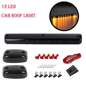 3x Smoke Cab Roof Running Amber LED Light For Chevy Silverado/GMC Sierra 2007-14