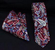 Tie Cravatta Con Fazzoletto Slim Rosso Paisley cotone di alta qualità MTB08