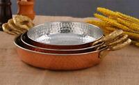 Handmade Copper Pan Thick Big Pan Set Hammered Pan with Brass Handles Set Of 3