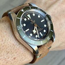 24mm QR BROWN Vintage Suede Leather Watch Strap Band DARK GREEN Stitching