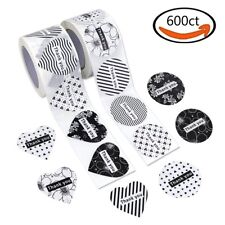 """600× Heart and Round Shape Adhesive Labels """"Thank you"""" Roll Stickers Wafer Seals"""