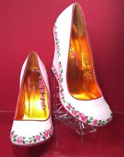 Irregular Choice High Wedge Pumps Hand Paint Roses Leather US 8 / 39 Next2New