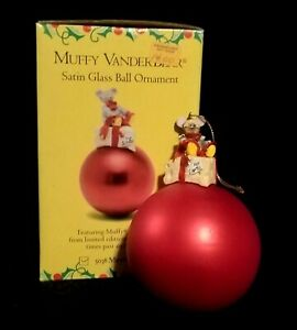Muffy Mouse Vanderbear Satin Glass Christmas Ball Ornament - Original Box