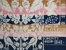 Antique Jacquard Coverlet 1848 Bucyrus Crawford County Ohio Josiah Slaybaugh