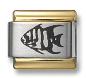 Italian Charm Bracelet Link Laser Angel Fish 9mm Gold Trim Stainless Steel