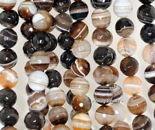 """12MM COFFEE AGATE GEMSTONE BROWN SWIRLS FACETED ROUND 12MM LOOSE BEADS 14.5"""""""