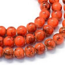 105 BULK Beads Round Glass Beads Orange Black Halloween Marbled Glass 8mm Beads