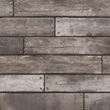 DARK BROWN & CHARCOAL WOODEN PLANK EFFECT WALLPAPER 10m - FINE DECOR WOOD NEW