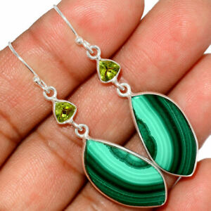 Malachite - Congo & Peridot 925 Sterling Silver Earrings Jewelry AE183606-