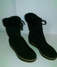 suede ankle boots black Joan and David sz 6 medium fur inside laced cuff top