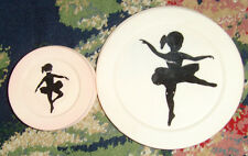 Lot of vintage plastic ballerina child's play dishes and dollhouse furniture
