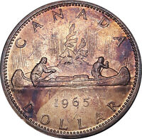 1965 CANADA 1 DOLLAR SILVER BU GOLDEN MAGENTA GEM TONED UNC COLOR (DR)