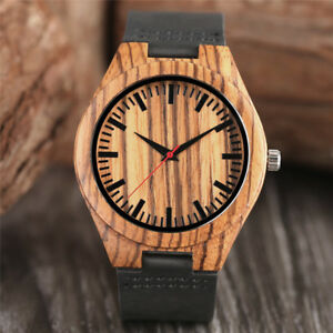 Casual Natural Wood Bamboo Men's Quartz Analog Wrist Watch Genuine Leather Band