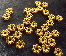DAISY FLOWER SPACER BEADS RONDELLE 4 MM GOLD 50 PER PACKAGE