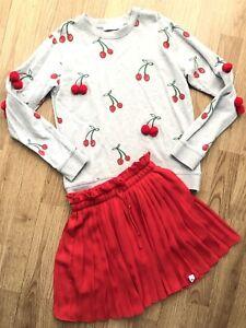 Girls Red Cherry PomPom Sweater & Pleated Skirt by STELLA MCCARTNEY / NIK & NIK