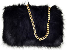 Ladies Designer Fluffy Feather Clutch Faux Fur Bag Purse golden Chain Runway New