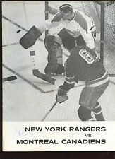 Feb 6 1963 NHL Hockey Program Montreal Canadiens at New York Rangers