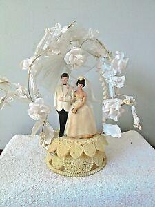 "Vintage Wedding Cake Topper Plastic Faux Flowers 10"""