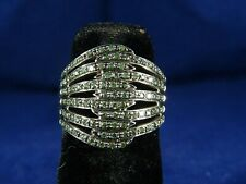 Stunning 9ct White Gold Multi Strand Wide Green Diamond Intertwined Ring, Bir