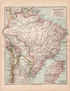 Antique map. SOUTH AMERICA. BRAZIL. BOLIVIA. GUAYANA. URUGUAY. PARAGUAY. 1895
