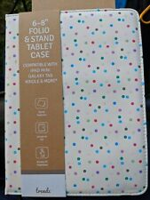 """Trendz  multicolour dots 6-8"""" Inch folio & stand tablet case IPad  Kindle Fire"""