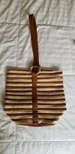 VINTAGE Henri Bendel White And Brown Leather Bucket Purse