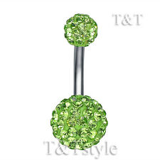 T&T 10mm Green Crystal Ball Belly Bar Ring Bl138G