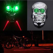 Crâne argent bicyclette vélo laser Feu arrière vert 2 LEDs 7 Modes lampe
