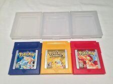Lot of 3 Nintendo Game Boy Pokemon GB Games: Blue, Red & Yellow Pikachu Edition!