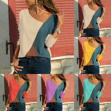 Womens V Neck Colorblock Long Sleeve T-Shirt Casual Blouse Tops Shirts Plus Size