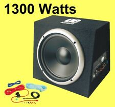 "1300 Watt Active 12"" Subwoofer Bass box Car Audio Built in Amplifier with cables"