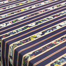 Tessuto al 1/2 metro Abbigliamento Georgette CONNY Blu a Righe e Fiori Colorati