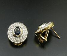 Große Saphir & Brillant Ohrstecker/Ohrclips in 585 Gold Diamant Saphir Ohrringe