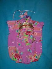 DOTW Japanese Barbie~Pink Floral Kimono w/OBI Gold Sash/Pink Hair Ribbon outfit