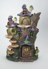 """Lighted Haunted Witch Tree Stump House Halloween Decor Color Changing 10"""" Tall"""